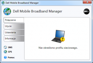 Aplikacja połączeniowa Dell - okno startowe