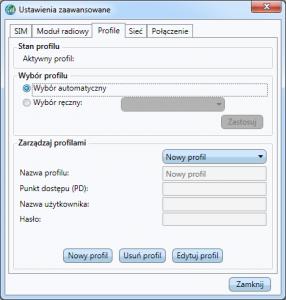Aplikacja Dell - okno edycji profili