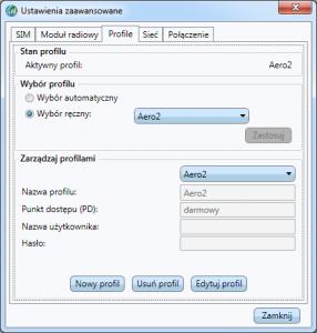 Aplikacja Dell - wybrany profil Aero2