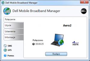 Aplikacja Dell - połączenie zAero2 zostało nawiązane