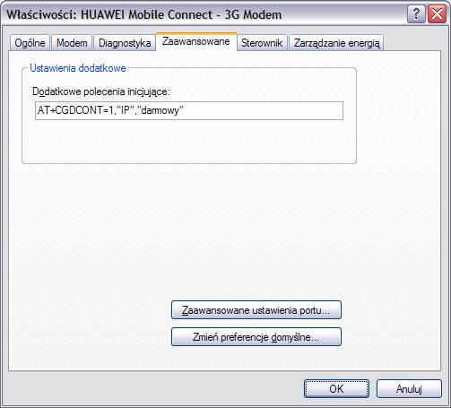 Właściwości modemu - karta zaawansowane