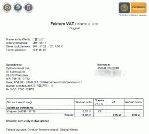 Faktura zadarmowy okres testowy LTE