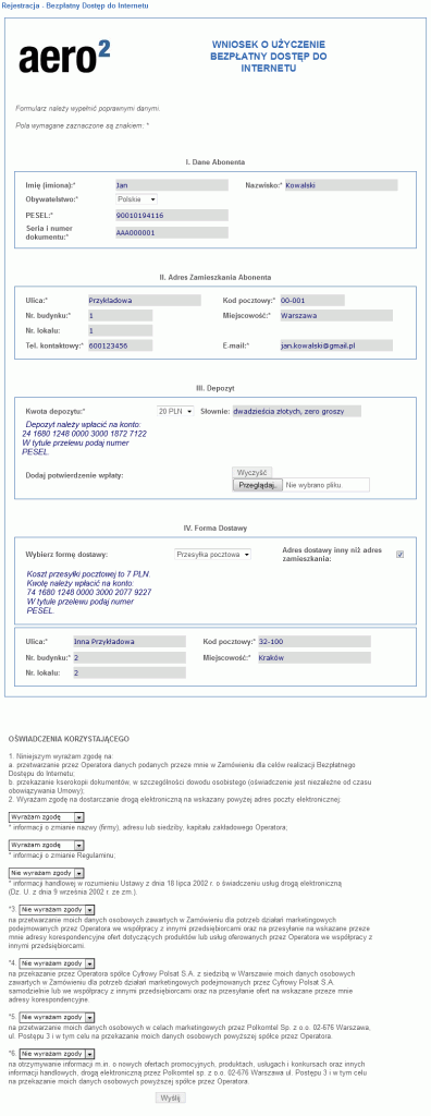 Przykładowo wypełniony formularz interaktywny nastronie Aero2