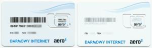 Dwa poprzednie wzory kart SIM Aero2