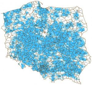 Poglądowa mapa zasięgu Aero2 nadzień 23.11.2012