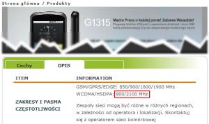 Specyfikacja modelu GSmart G1315