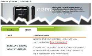 Specyfikacja modelu GSmart G1517D