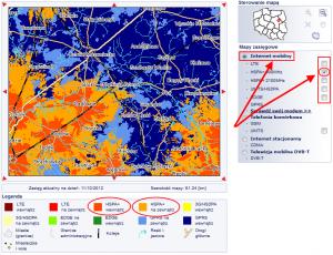 Interaktywna mapa zasięgu Plus - zbliżenie poustawieniu naHSPA+ 900 MHz