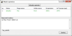 Po wymuszeniu UMTS 900 MHz widać operatora Plus