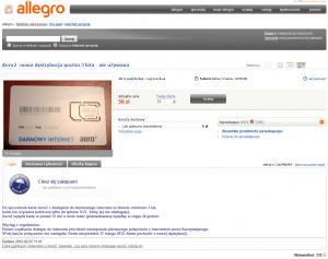 Aukcja karty SIM bezpłatnego Internetu Aero2 naAllegro