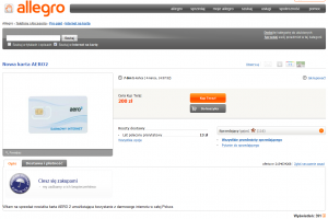 Obraz aukcji karty SIM bezpłatnego Internetu Aero2 naportalu Allegro.