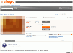 Obraz aukcji karty SIM bezpłatnego Internetu Aero2 naportalu Allegro