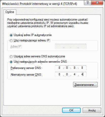 Ustawienia serwerów DNS