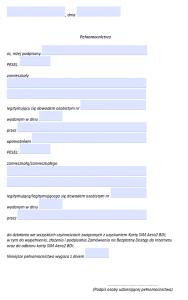 Interaktywny formularz upoważnienia doodbioru karty SIM bezpłatnego dostępu doInternetu Aero2