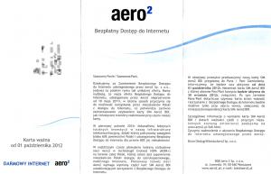 Pierwsza strona ulotki informacyjnej Aero2 dołączonej dowymienianych kart SIM