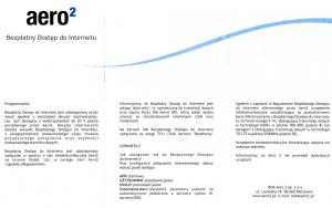 Druga strona ulotki informacyjnej Aero2 dołączonej dowymienianych kart SIM