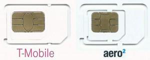 Porównanie sposobu wycinania kart torozmiaru microSIM dla Tmobile iAero2