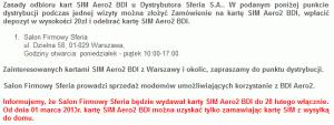 Koniec odbiorów osobistych - informacja nastronie Aero2