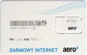 Tył karty SIM Aero2 - trzeci wzór