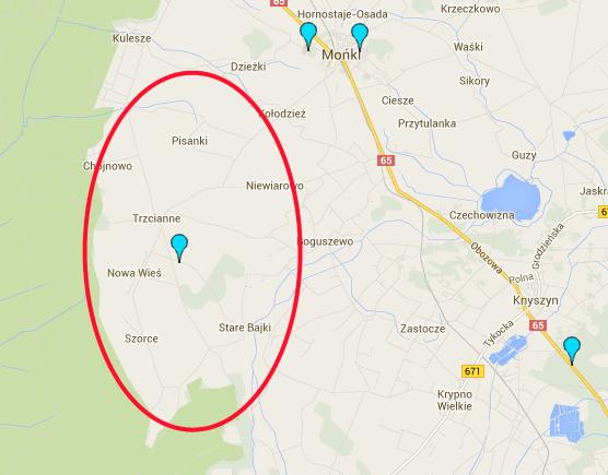 Zasięg stacji bazowej naterenie wiejskim - Knyszyn/Mońki, skala 2000m, źródło: mapa.btsearch.pl