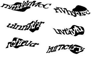 Przykłady nieczytelnych kodów CAPTCHA wAero2