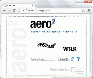 Właściwe reCAPTCHA - musimy wpisać kod zobrazka.