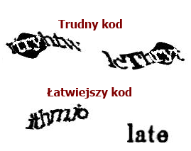 Łatwy itrudny kod reCAPTCHA