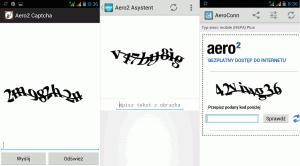 Aero2 Captcha, Aero2 Asystent orazAero2 Captcha & Widget - ekran wprowadzania kodu
