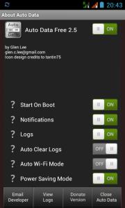 Aplikacja Auto Data - ekran konfiguracji