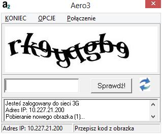 Aero3 - wpisujemy kod CAPTCHA