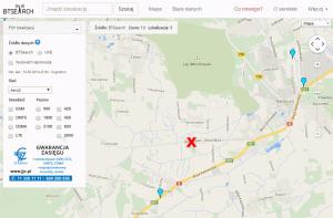 Serwis BTSearch - wyszukana lokalizacja iustawienia - szukamy stacji bazowych Aero2