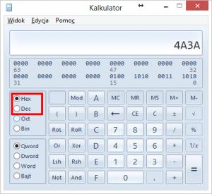 Kalkulator Windows wwidoku programisty, tryb heksadecymalny, wpisana liczba 4A3A