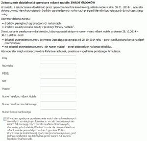 Formularz zwrotu środków nastronie mBank Mobile