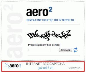 Reklama usługi płatnej Aero2 mini nastronie zkodem CAPTCHA