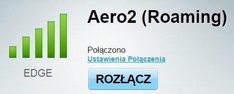 Karta Aero2 zalogowana ipołączona wtechnologii 2G