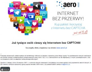 Email odAero2 reklamujący pakiety płatne