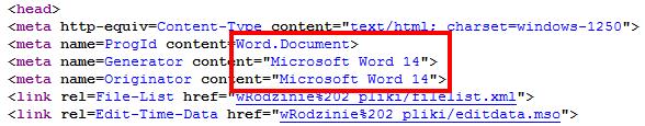 Fragment kodu źródłowego reklamy