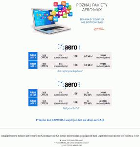 Strona zreklamą pakietów Aero2 mini imax