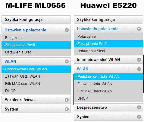 Porównanie menu M-Life ML0655 iHuawei E5220