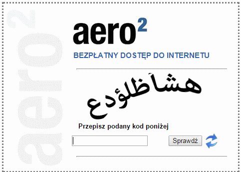 Dziwny kod CAPTCHA Aero2