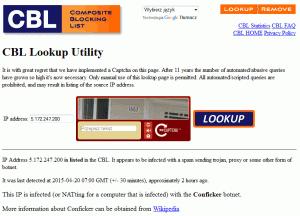 Raport serwisu CBL natemat adresu IP zpuli NAT Aero2