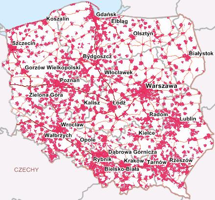 Mapa zasięgu LTE 1800 MHz