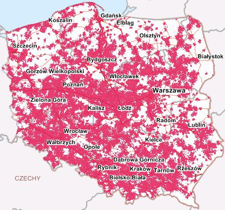 Mapa zasięgu LTE 800 i1800 MHz