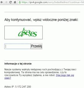 Kod CAPtCHA pokazywany przedwyszukiwaniem wGoogle