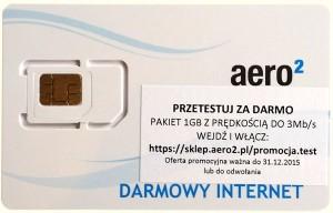 Reklama pakietu testowego nakarcie SIM Aero2