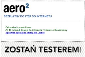 Po wpisaniu kodu widać informację opakiecie testowym