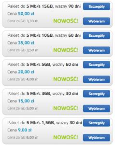 Pakiety 5 Mbit/s dostępne wsklepie
