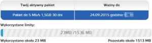 Widać aktywny pakiet 9 PLN oszybkości 5 Mbit/s