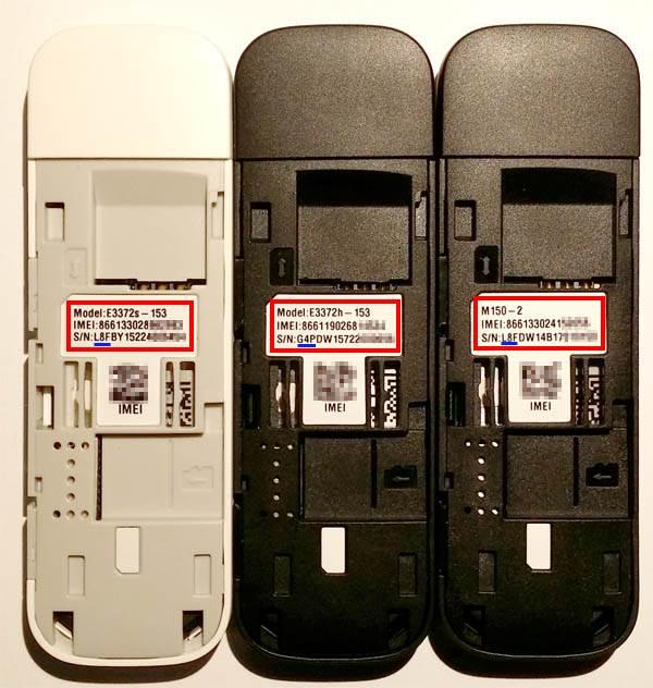 Trzy modemy E3372 wodmianach odpowiednio s-153, h-153 iznowu s-153