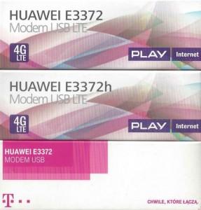 Przykładowe pudełka modemów E3372